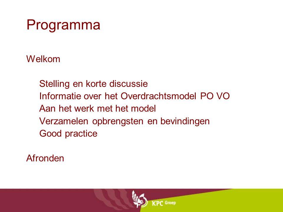 Programma Welkom Stelling en korte discussie Informatie over het Overdrachtsmodel PO VO Aan het werk met het model Verzamelen opbrengsten en bevindingen Good practice Afronden