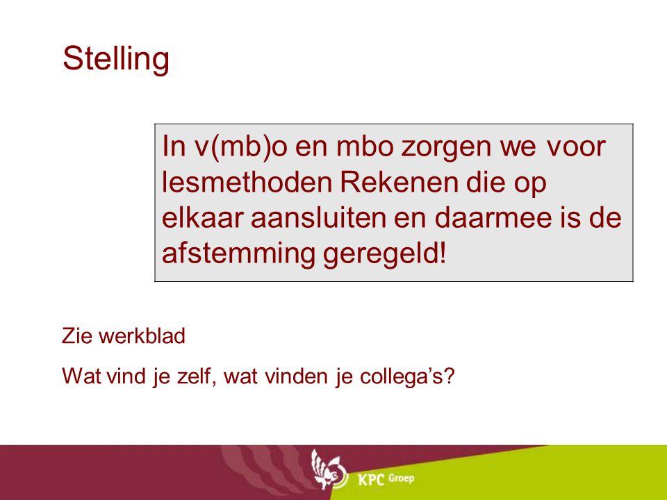 Stelling In v(mb)o en mbo zorgen we voor lesmethoden Rekenen die op elkaar aansluiten en daarmee is de afstemming geregeld.