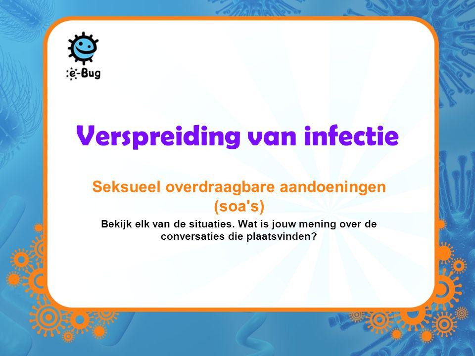 Verspreiding van infectie Seksueel overdraagbare aandoeningen (soa s) Bekijk elk van de situaties.