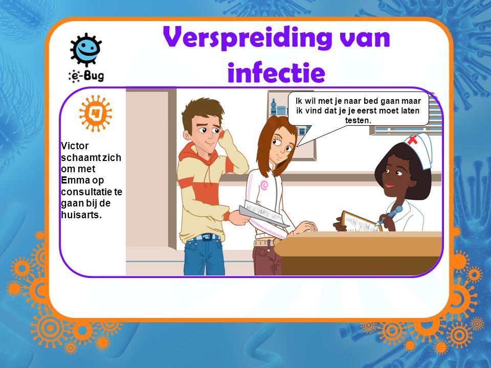 Verspreiding van infectie Victor schaamt zich om met Emma op consultatie te gaan bij de huisarts.