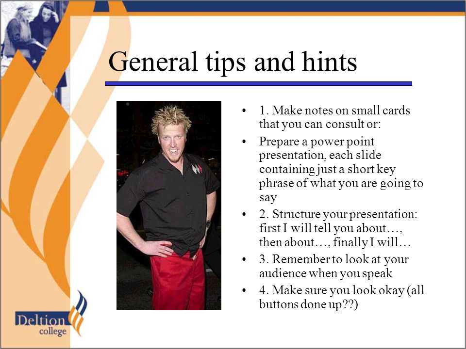 Click here to return to opening page To learn more about the art of giving a lively presentation, click here!here