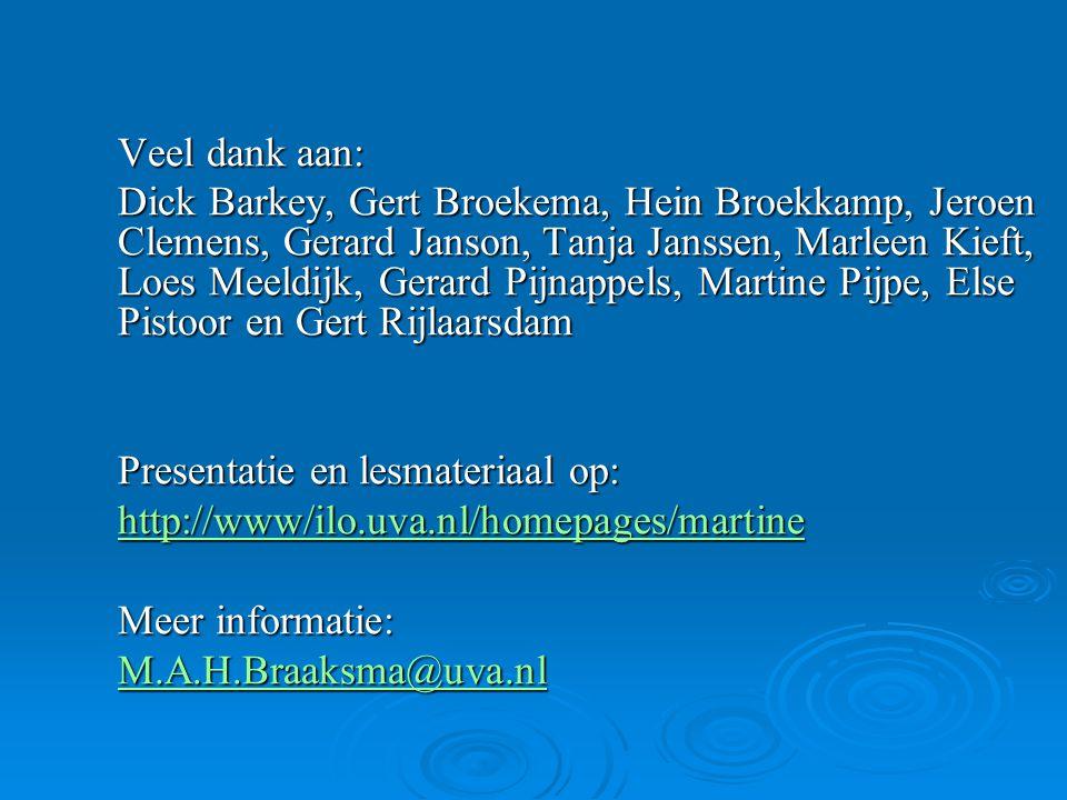 Veel dank aan: Dick Barkey, Gert Broekema, Hein Broekkamp, Jeroen Clemens, Gerard Janson, Tanja Janssen, Marleen Kieft, Loes Meeldijk, Gerard Pijnappe
