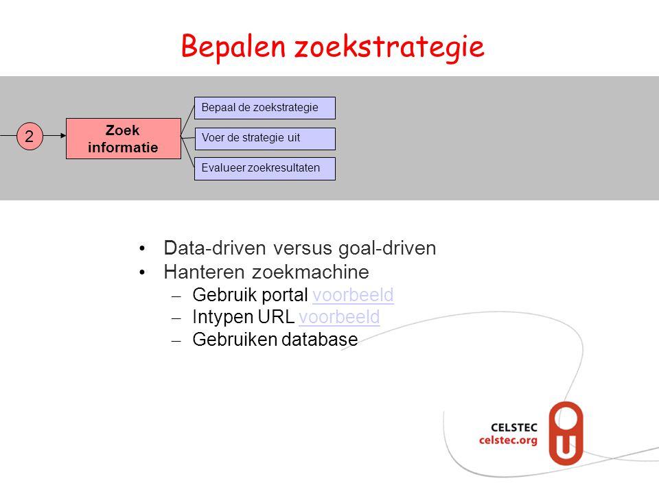 Bepalen zoekstrategie Zoek informatie Bepaal de zoekstrategie Evalueer zoekresultaten Voer de strategie uit 2 Data-driven versus goal-driven Hanteren