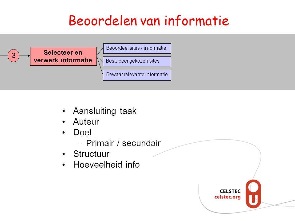 Beoordelen van informatie Selecteer en verwerk informatie Bestudeer gekozen sites Bewaar relevante informatie Beoordeel sites / informatie 3 Aansluiti
