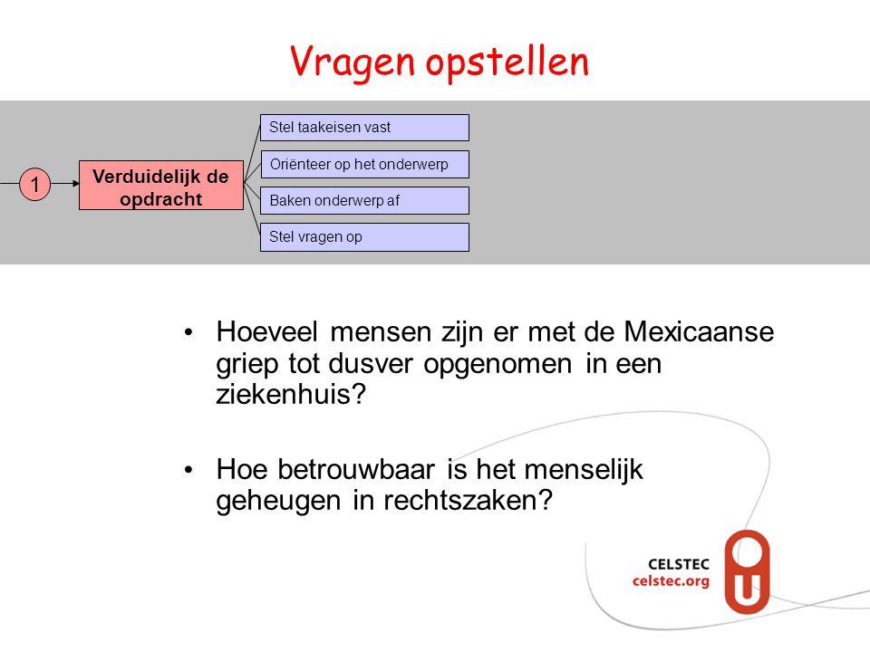 Vragen opstellen Hoeveel mensen zijn er met de Mexicaanse griep tot dusver opgenomen in een ziekenhuis? Hoe betrouwbaar is het menselijk geheugen in r