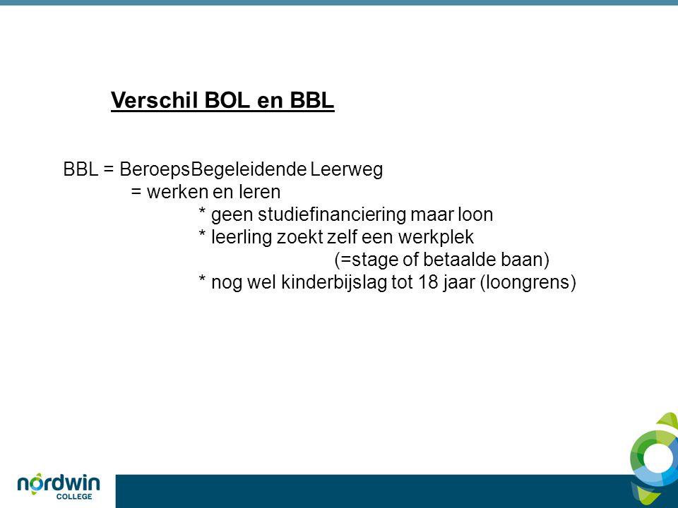 Verschil BOL en BBL BBL = BeroepsBegeleidende Leerweg = werken en leren * geen studiefinanciering maar loon * leerling zoekt zelf een werkplek (=stage