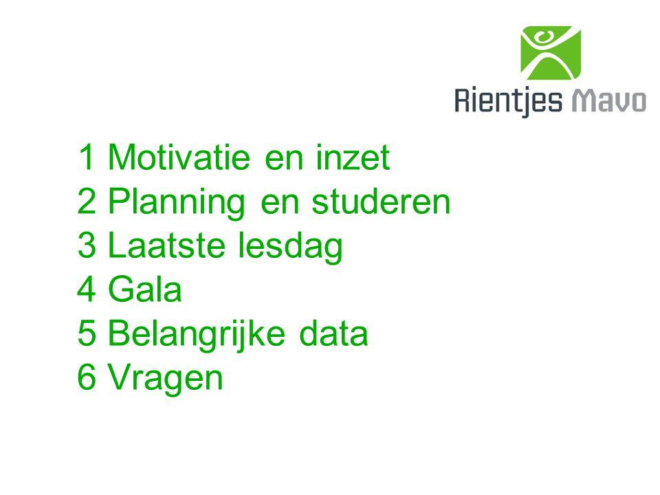 1 Motivatie en inzet 2 Planning en studeren 3 Laatste lesdag 4 Gala 5 Belangrijke data 6 Vragen