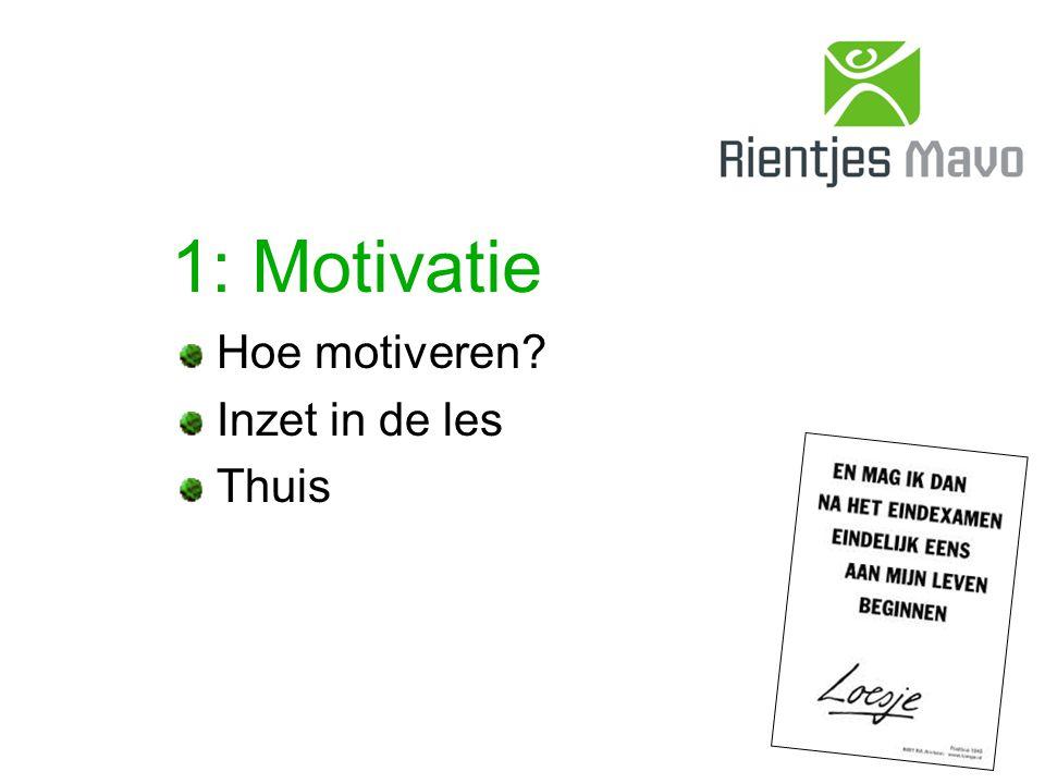 1: Motivatie Hoe motiveren Inzet in de les Thuis