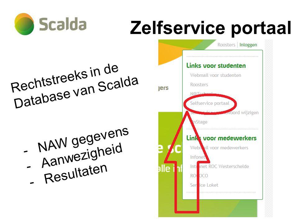 Zelfservice portaal Rechtstreeks in de Database van Scalda -NAW gegevens -Aanwezigheid -Resultaten