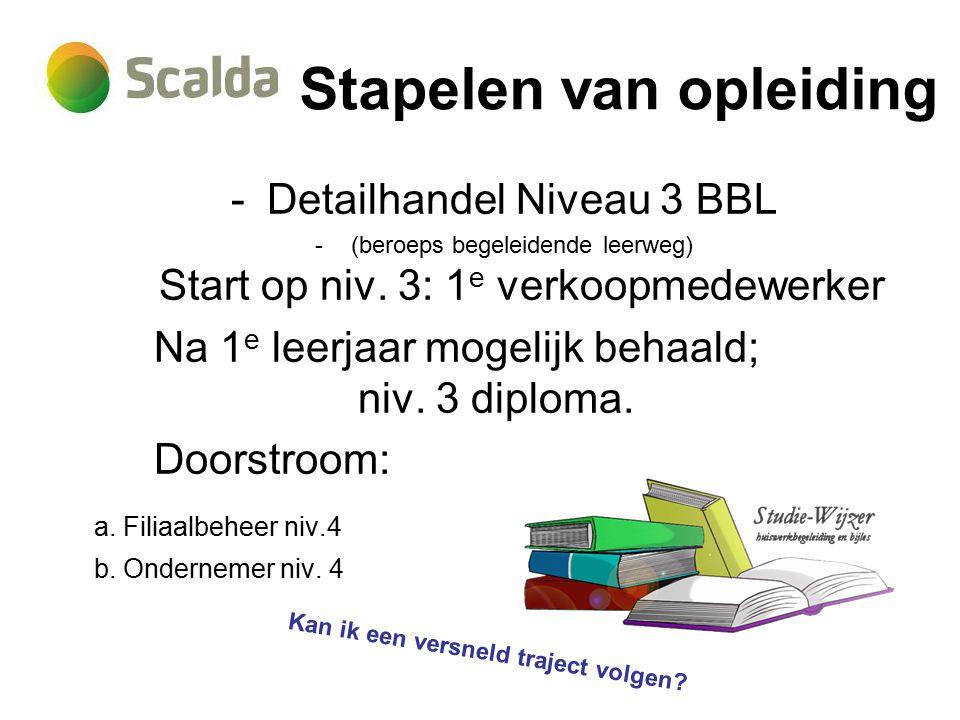 Stapelen van opleiding -Detailhandel Niveau 3 BBL -(beroeps begeleidende leerweg) Start op niv.