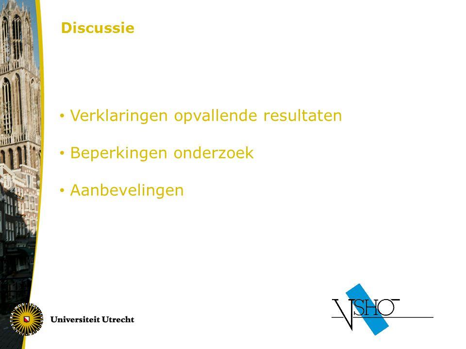 Discussie Verklaringen opvallende resultaten Beperkingen onderzoek Aanbevelingen