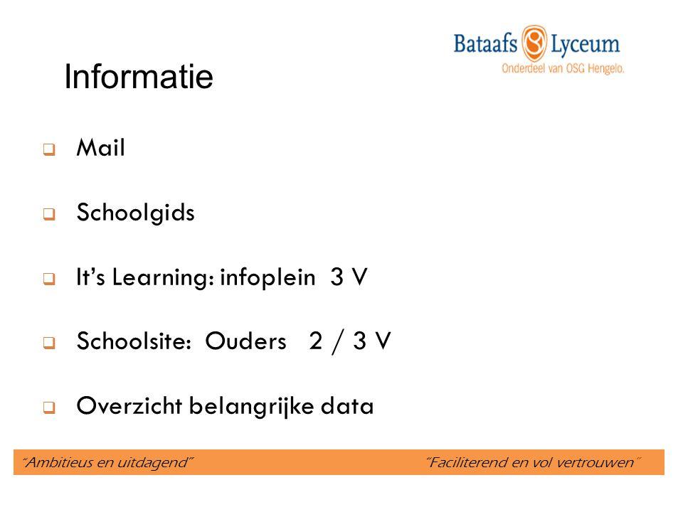 Ambitieus en uitdagend Faciliterend en vol vertrouwen Informatie  Mail  Schoolgids  It's Learning: infoplein 3 V  Schoolsite: Ouders 2 / 3 V  Overzicht belangrijke data