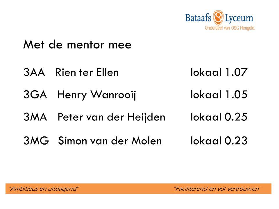 Ambitieus en uitdagend Faciliterend en vol vertrouwen Met de mentor mee 3AA Rien ter Ellenlokaal 1.07 3GA Henry Wanrooijlokaal 1.05 3MA Peter van der Heijdenlokaal 0.25 3MG Simon van der Molenlokaal 0.23