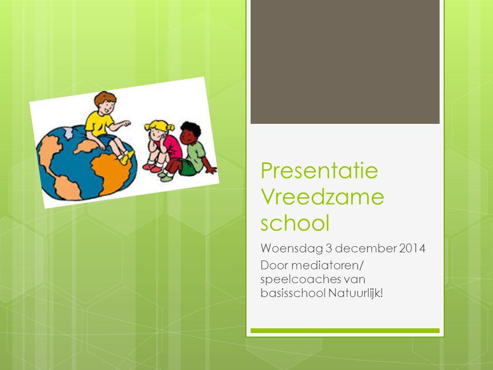 Presentatie Vreedzame school Woensdag 3 december 2014 Door mediatoren/ speelcoaches van basisschool Natuurlijk!