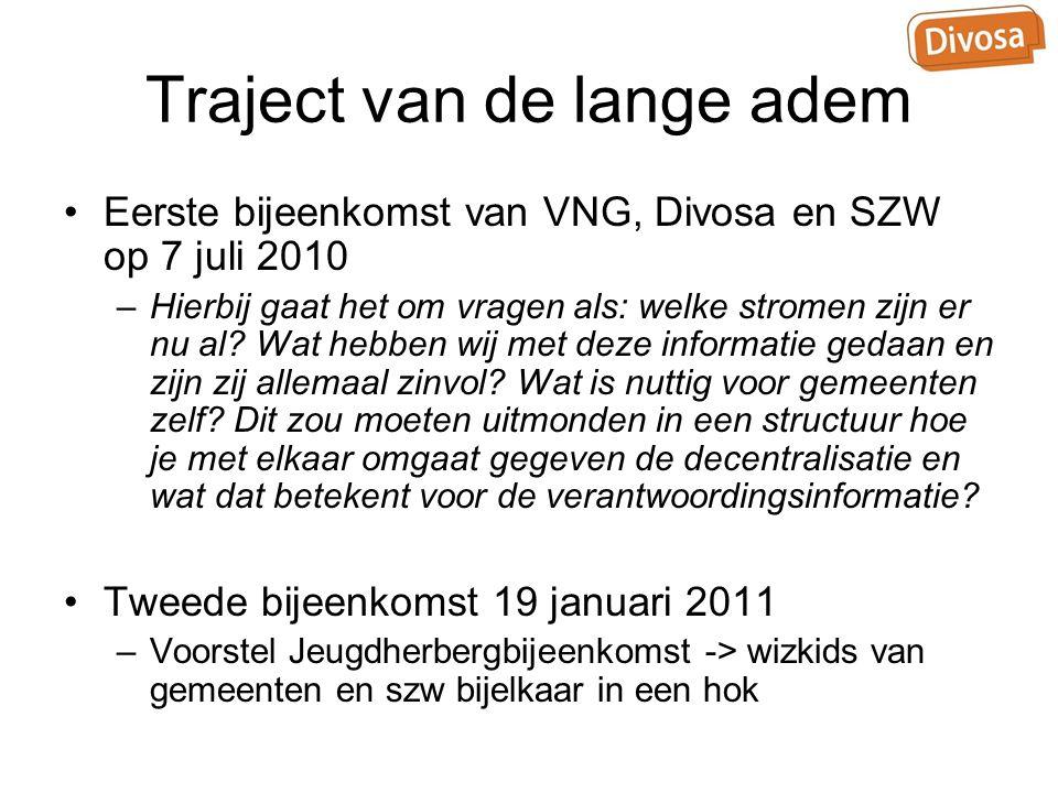 Traject van de lange adem Eerste bijeenkomst van VNG, Divosa en SZW op 7 juli 2010 –Hierbij gaat het om vragen als: welke stromen zijn er nu al? Wat h