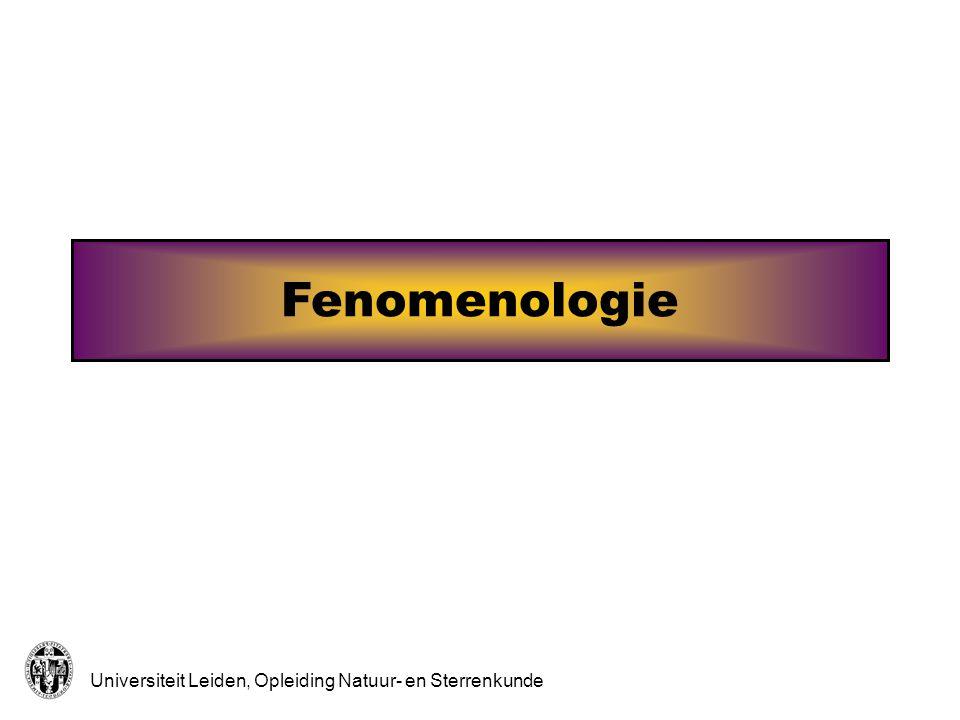 Universiteit Leiden, Opleiding Natuur- en Sterrenkunde Fenomenologie