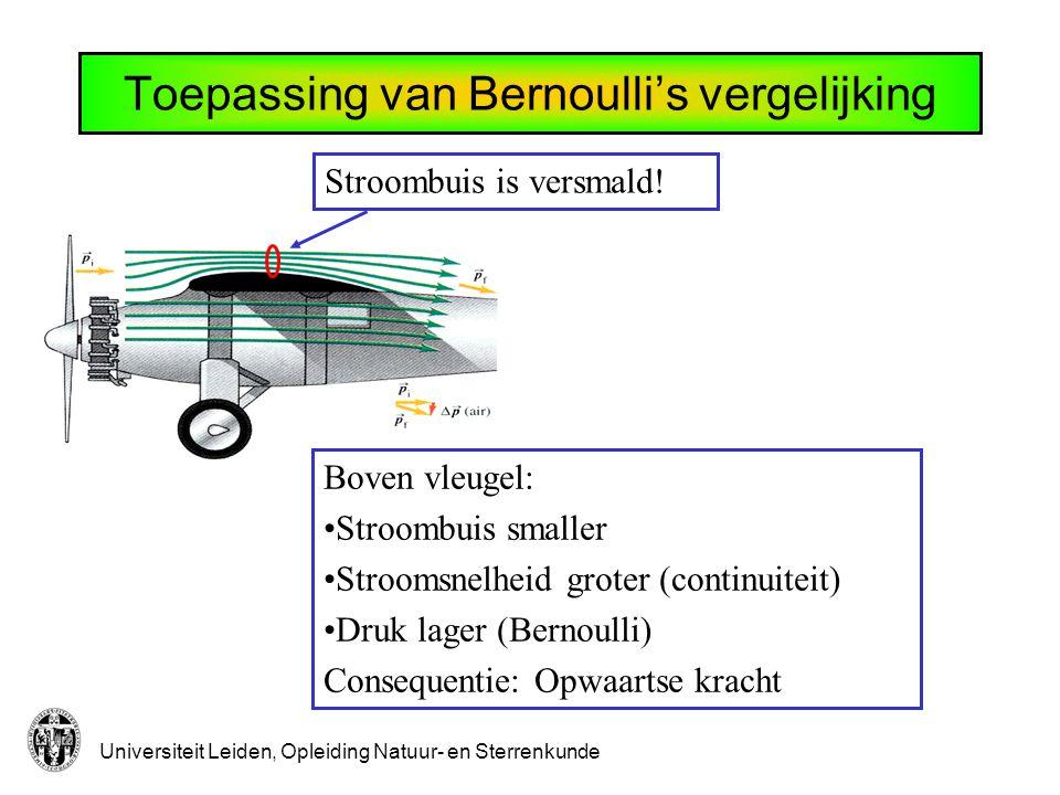 Universiteit Leiden, Opleiding Natuur- en Sterrenkunde Toepassing van Bernoulli's vergelijking Stroombuis is versmald.