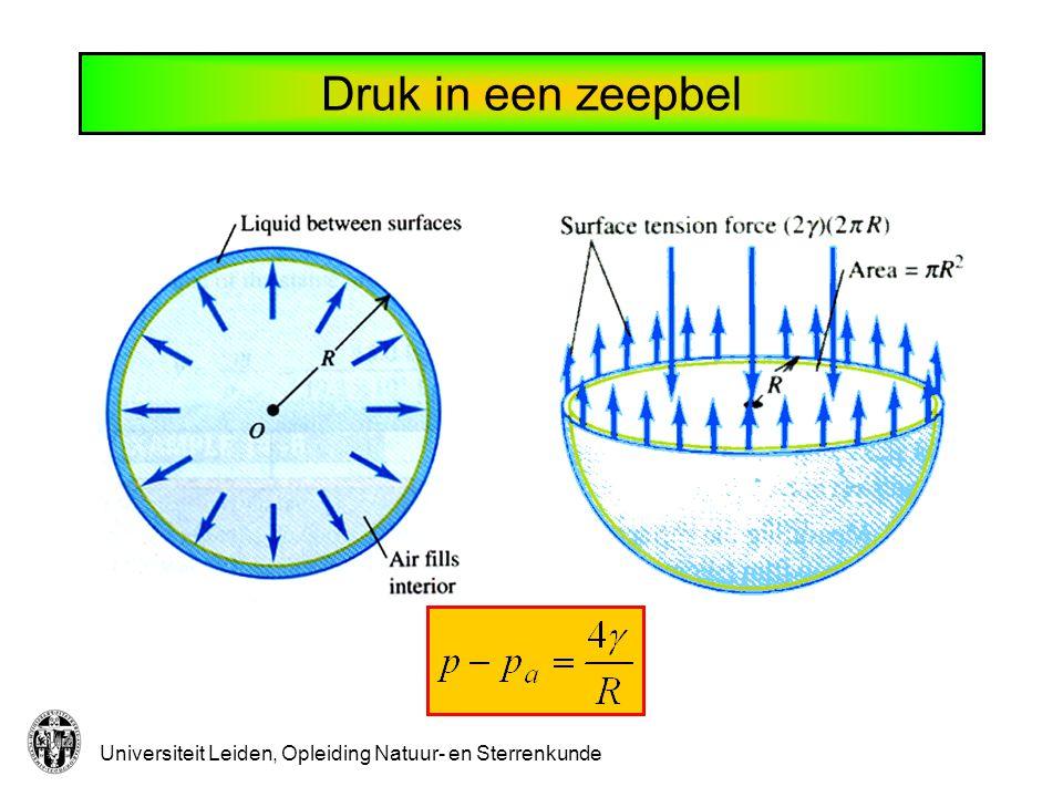Universiteit Leiden, Opleiding Natuur- en Sterrenkunde Druk in luchtbelletje Rp pApA Water:  = 0.073 N/m @ kamertemperatuur R= 1 mmp-p A = 73 Pa R= 1  mp-p A = 73 kPa  0.73 bar