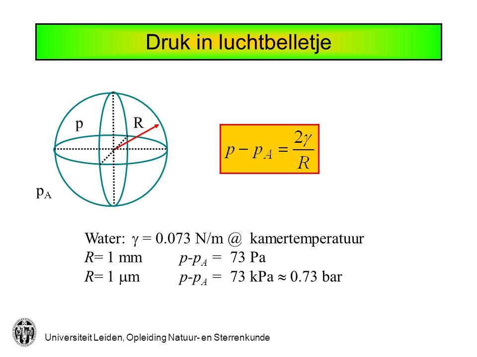 Universiteit Leiden, Opleiding Natuur- en Sterrenkunde Vloeistofstroming We beschouwen ideale vloeistoffen.