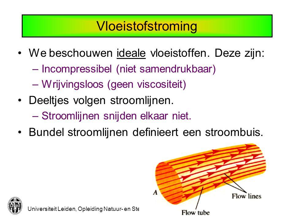 Universiteit Leiden, Opleiding Natuur- en Sterrenkunde Continuiteitsvergelijking Alle massa die een stroombuis ingaat komt er ook weer uit.