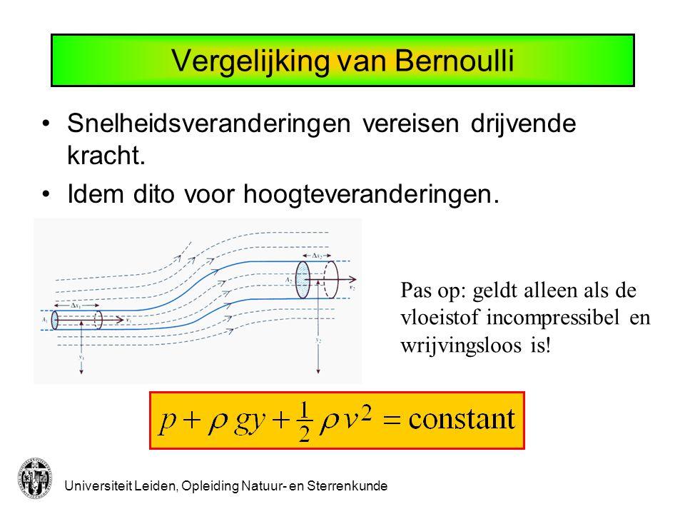 Universiteit Leiden, Opleiding Natuur- en Sterrenkunde Vergelijking van Bernoulli Snelheidsveranderingen vereisen drijvende kracht.