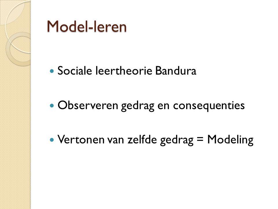 Model-leren Sociale leertheorie Bandura Observeren gedrag en consequenties Vertonen van zelfde gedrag = Modeling