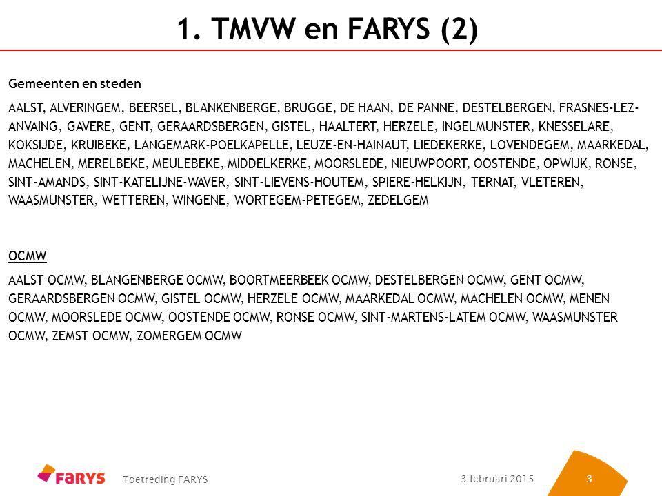 Toetreding FARYS 3 februari 2015 33 1. TMVW en FARYS (2) Gemeenten en steden AALST, ALVERINGEM, BEERSEL, BLANKENBERGE, BRUGGE, DE HAAN, DE PANNE, DEST