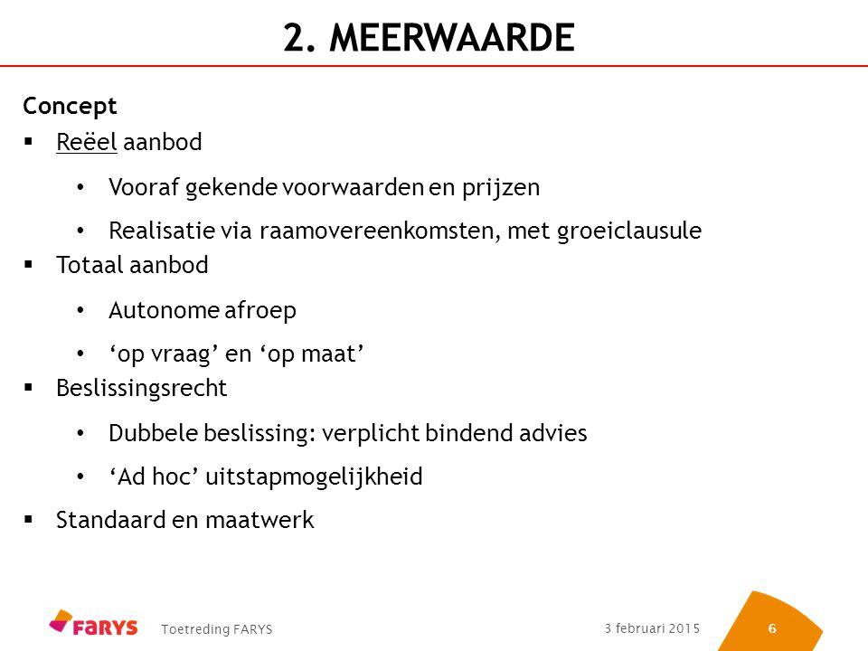 Toetreding FARYS 3 februari 2015 66 2. MEERWAARDE Concept  Reëel aanbod Vooraf gekende voorwaarden en prijzen Realisatie via raamovereenkomsten, met
