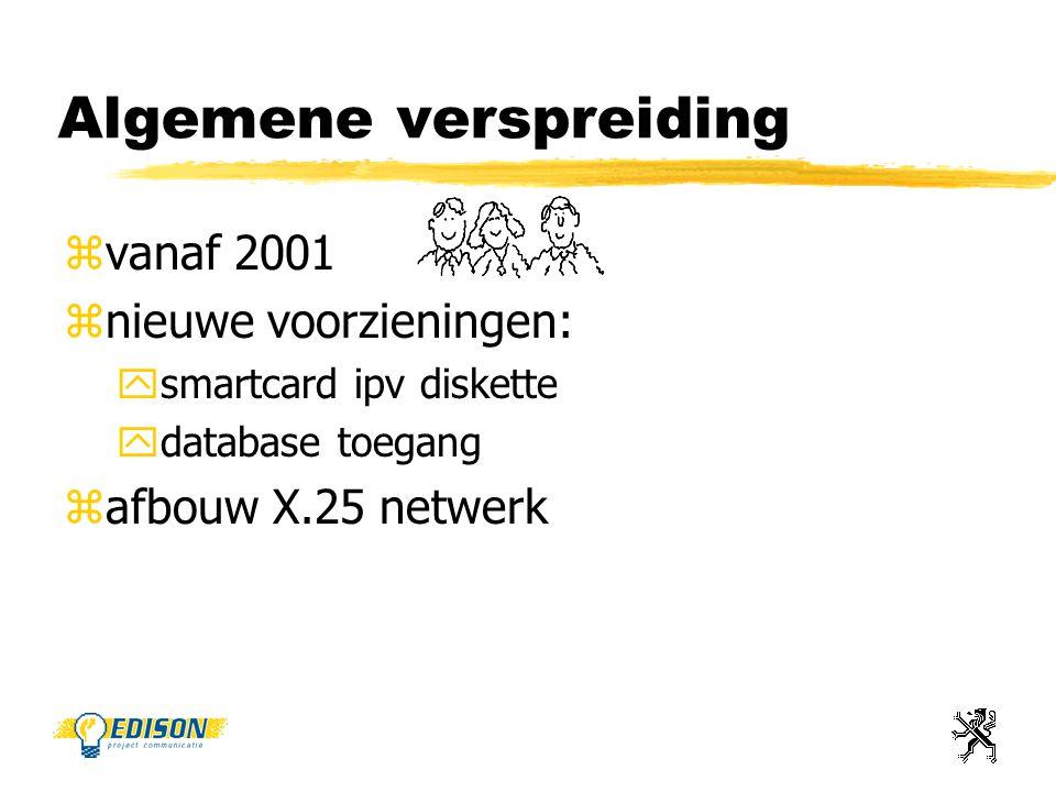Algemene verspreiding zvanaf 2001 znieuwe voorzieningen: ysmartcard ipv diskette ydatabase toegang zafbouw X.25 netwerk