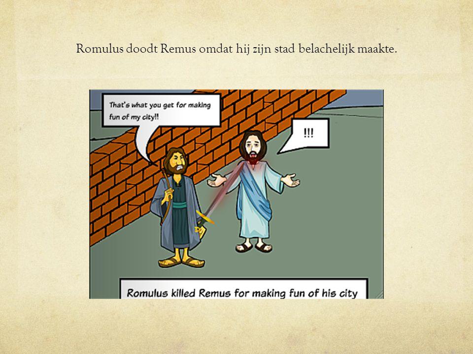 Romulus doodt Remus omdat hij zijn stad belachelijk maakte.