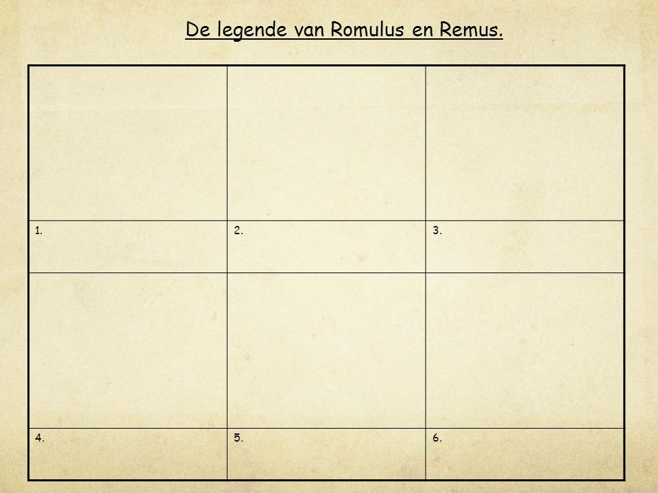 1.2.3. 4.5.6. De legende van Romulus en Remus.