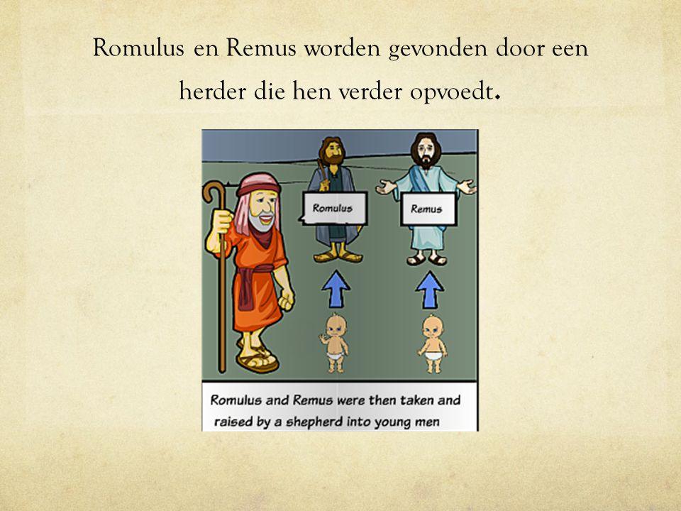 Romulus en Remus worden gevonden door een herder die hen verder opvoedt.