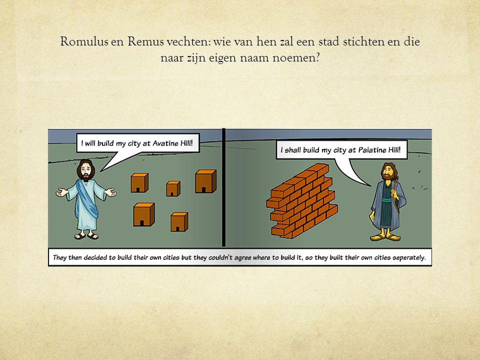 Romulus en Remus krijgen ruzie. Remus is jaloers en springt over de muur van Romulus heen.