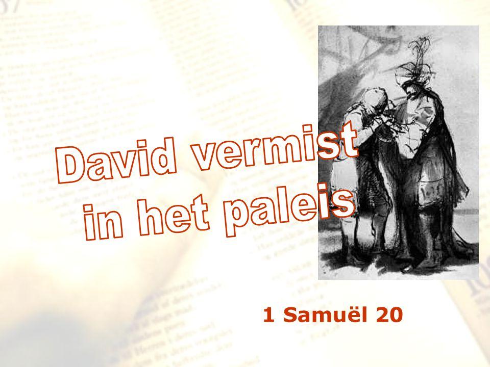de voorgeschiedenis… David gezalfd (1Sam.16) David en Goliath (1Sam.17) Saul pleegt aanslagen op David (1Sam.18) David vlucht voor Saul (1Sam.19) vlucht door het venster in Najot (rust) bij Rama (hoge plaats)