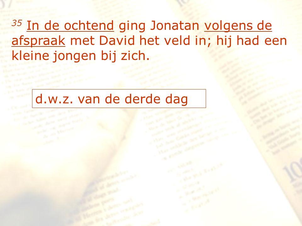 zzz 35 In de ochtend ging Jonatan volgens de afspraak met David het veld in; hij had een kleine jongen bij zich. d.w.z. van de derde dag
