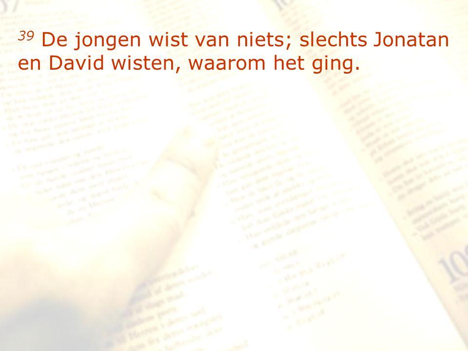 zzz 39 De jongen wist van niets; slechts Jonatan en David wisten, waarom het ging.
