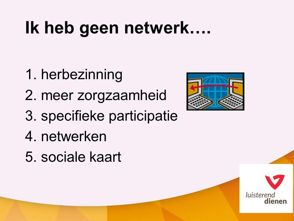 Ik heb geen netwerk…. 1. herbezinning 2. meer zorgzaamheid 3. specifieke participatie 4. netwerken 5. sociale kaart