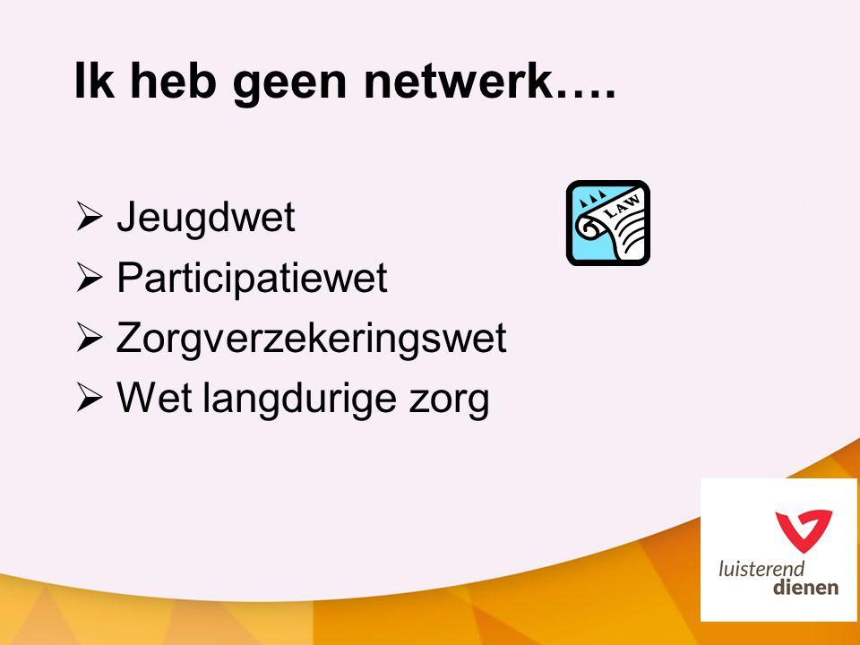 Ik heb geen netwerk….  Jeugdwet  Participatiewet  Zorgverzekeringswet  Wet langdurige zorg