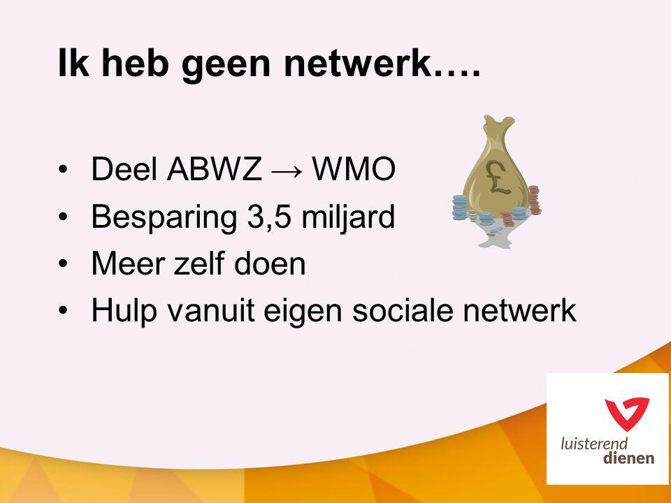 Ik heb geen netwerk…. Deel ABWZ → WMO Besparing 3,5 miljard Meer zelf doen Hulp vanuit eigen sociale netwerk