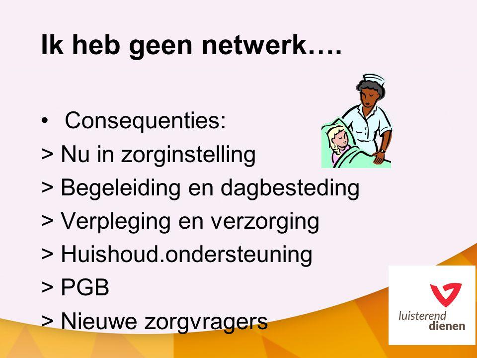 Ik heb geen netwerk…. Consequenties: > Nu in zorginstelling > Begeleiding en dagbesteding > Verpleging en verzorging > Huishoud.ondersteuning > PGB >