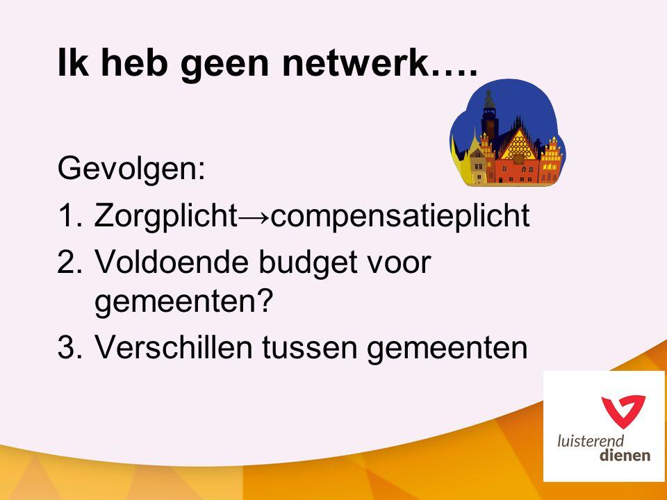 Ik heb geen netwerk…. Gevolgen: 1.Zorgplicht→compensatieplicht 2.Voldoende budget voor gemeenten? 3.Verschillen tussen gemeenten