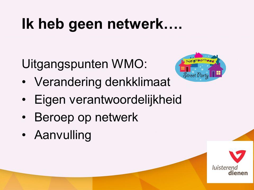 Ik heb geen netwerk…. Uitgangspunten WMO: Verandering denkklimaat Eigen verantwoordelijkheid Beroep op netwerk Aanvulling