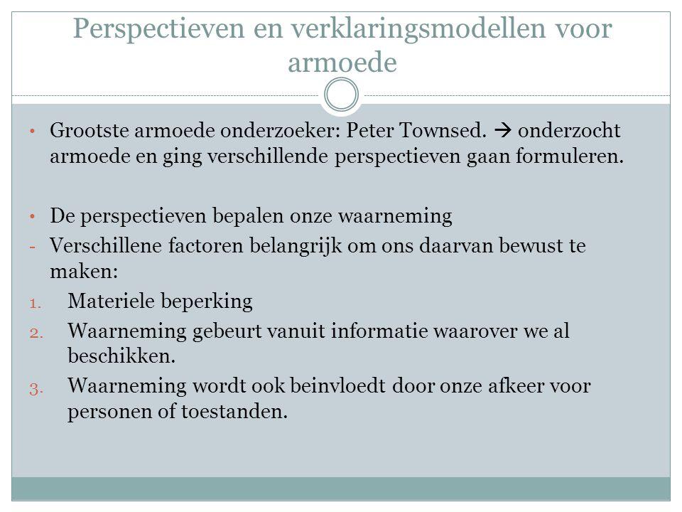 Perspectieven en verklaringsmodellen voor armoede Grootste armoede onderzoeker: Peter Townsed.  onderzocht armoede en ging verschillende perspectieve