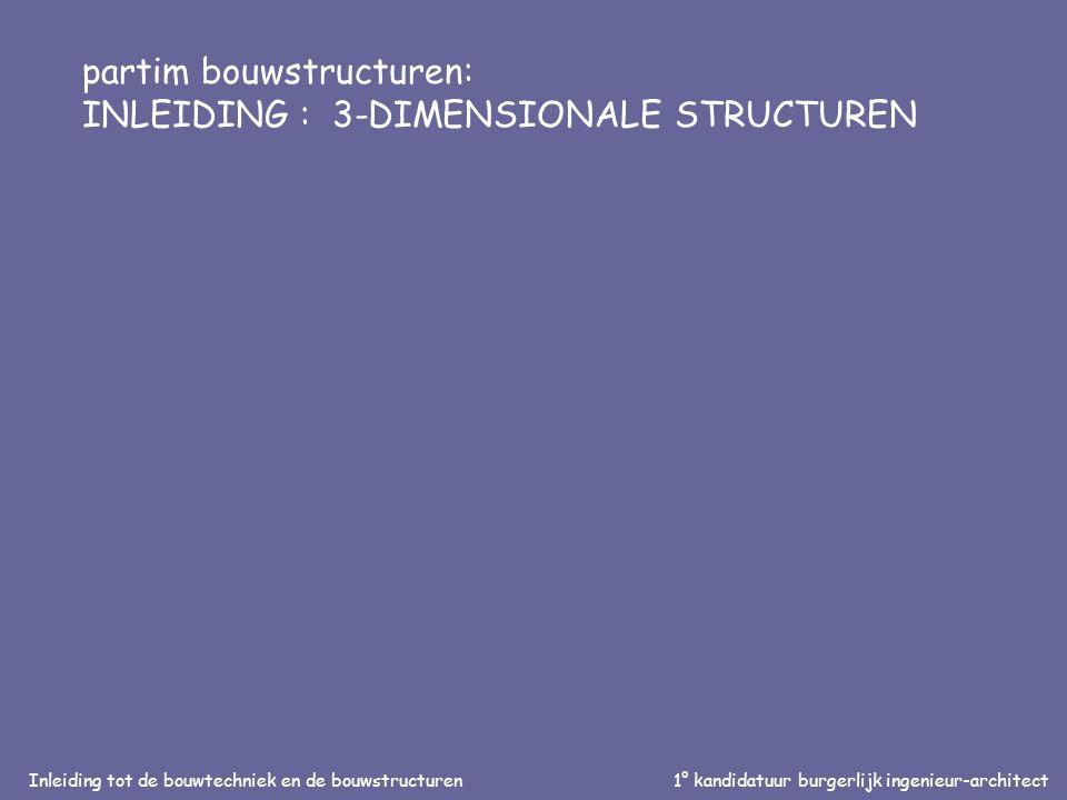 Inleiding tot de bouwtechniek en de bouwstructuren1° kandidatuur burgerlijk ingenieur-architect partim bouwstructuren: INLEIDING : 3-DIMENSIONALE STRUCTUREN