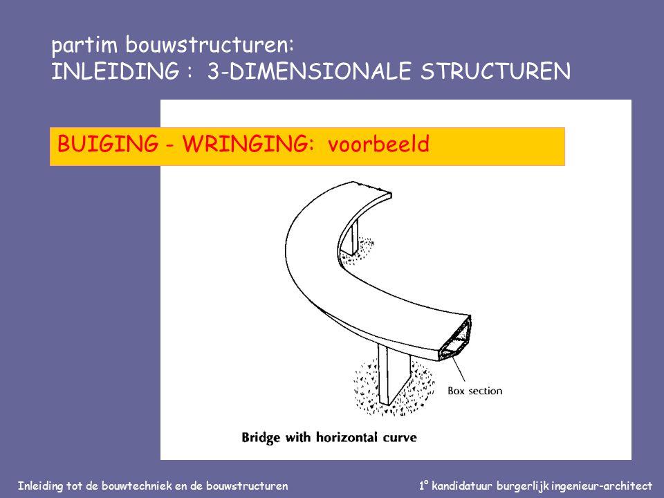 Inleiding tot de bouwtechniek en de bouwstructuren1° kandidatuur burgerlijk ingenieur-architect partim bouwstructuren: INLEIDING : 3-DIMENSIONALE STRUCTUREN BUIGING - WRINGING: wring-stijfheid
