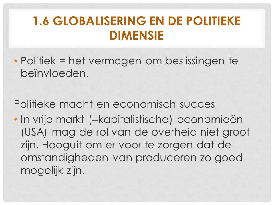 1.6 GLOBALISERING EN DE POLITIEKE DIMENSIE Politiek = het vermogen om beslissingen te beïnvloeden. Politieke macht en economisch succes In vrije markt