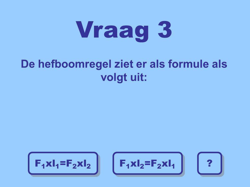 Vraag 3 De hefboomregel ziet er als formule als volgt uit: F 1 xl 2 =F 2 xl 1 F 1 xl 2 =F 2 xl 1 F 1 xl 1 =F 2 xl 2 F 1 xl 1 =F 2 xl 2 ? ?