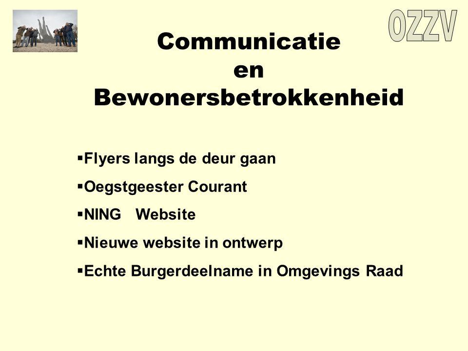 Communicatie en Bewonersbetrokkenheid  Flyers langs de deur gaan  Oegstgeester Courant  NING Website  Nieuwe website in ontwerp  Echte Burgerdeelname in Omgevings Raad
