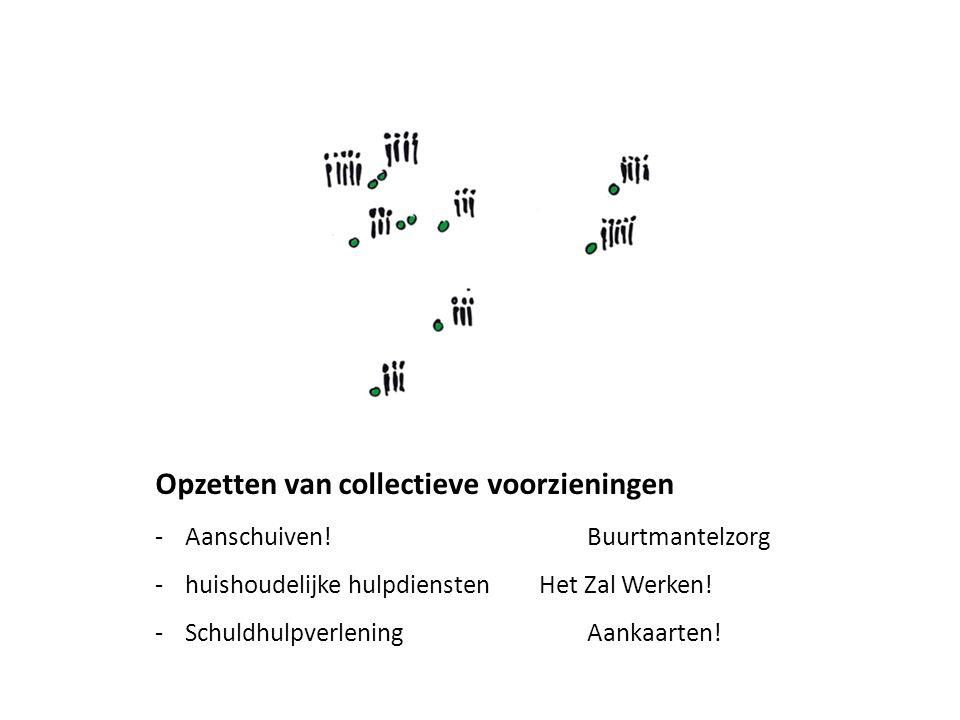 Opzetten van collectieve voorzieningen -Aanschuiven!Buurtmantelzorg -huishoudelijke hulpdienstenHet Zal Werken! -SchuldhulpverleningAankaarten!
