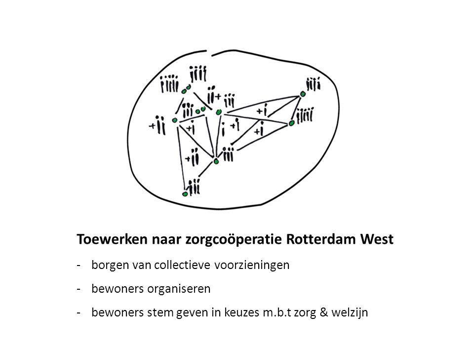 Toewerken naar zorgcoöperatie Rotterdam West -borgen van collectieve voorzieningen -bewoners organiseren -bewoners stem geven in keuzes m.b.t zorg & w